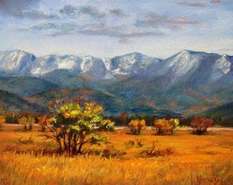 Fall has come. Landscape painting. Autumn artwork. Mountain art. Original pastel drawing. Original art. Framed artwork. Wall decor