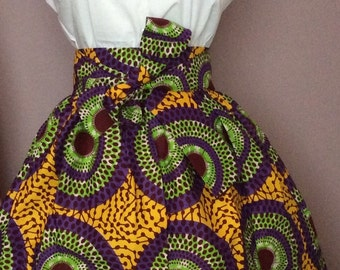 Esty Ankara African Skirt  with two Pocket and a belt
