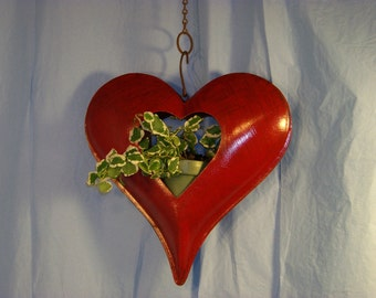 Tin Hanging Heart. Candle/Plant holder.