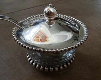 Vintage ART DECO Beaded Silver & Glass Sugar Bowl with Lid and Spoon