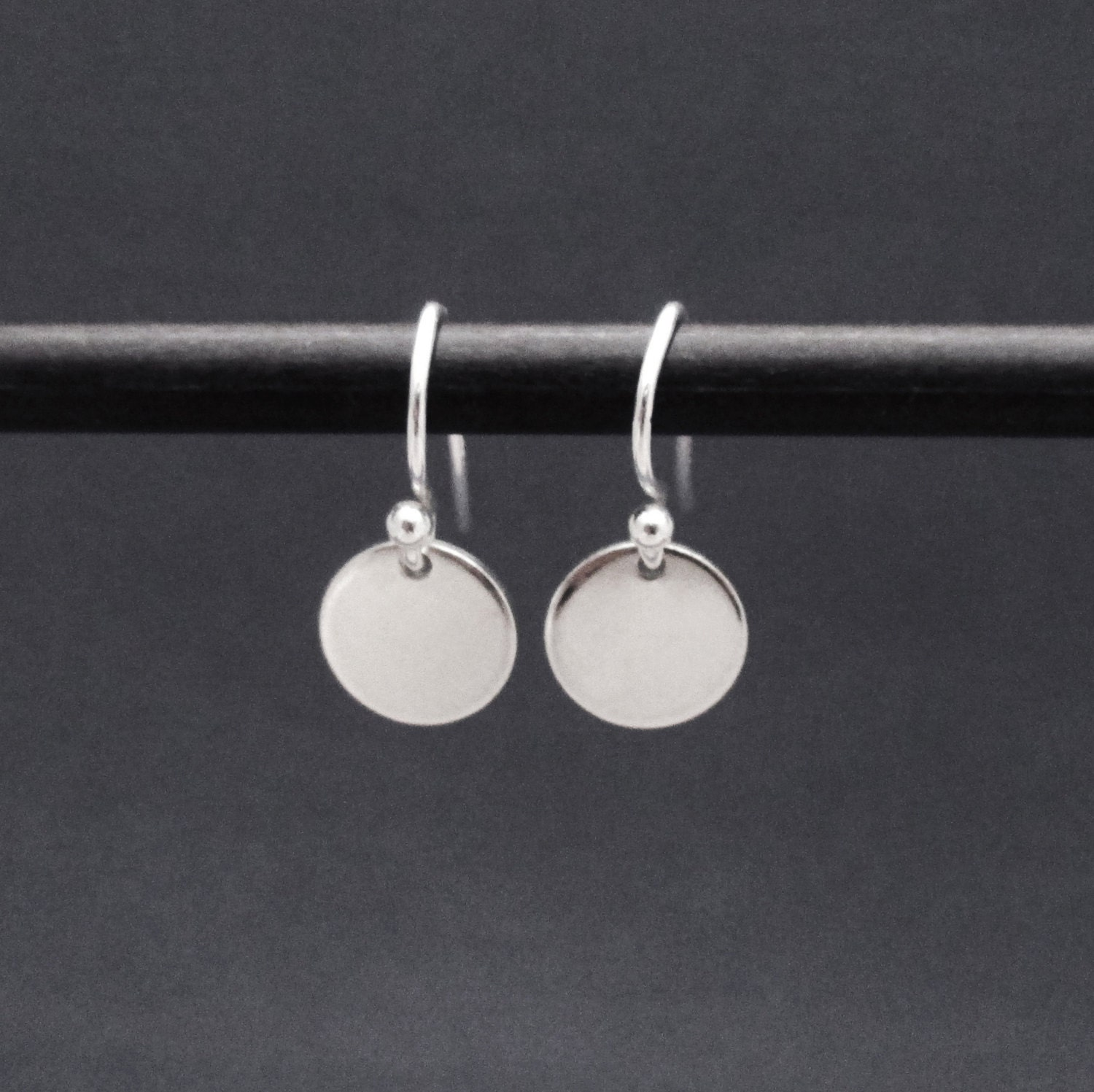 Disk Silvers: Tiny Sterling Silver Disc Earrings Small Circle Drop Dangle