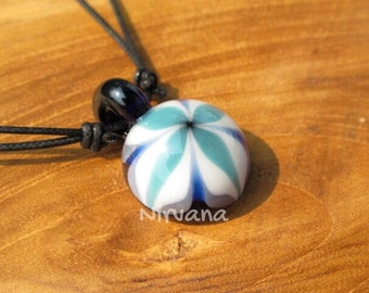 Groovy Aqua Flower Pendant in Pyrex Glass 1 Piece with Black Waxed Linen Adjustable Cord (Free Shipping from Thailand)!!!
