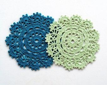 Set of 2, 4 or 6 Crocheted mini doilies, wedding decorations, Crochet Lace Doily, Coaster, Mini doily, Small doily