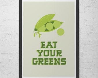 "KITCHEN WALL ART - Minimalist Kitchen Poster Giclee Art Print Ikea Ribba ""Eat Your Greens"" Kitchen Poster Kids Poster Teacher Art"