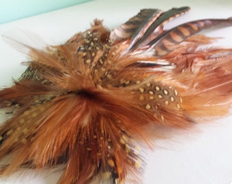 Large Handmade Auburn Festive Feather Hairclip