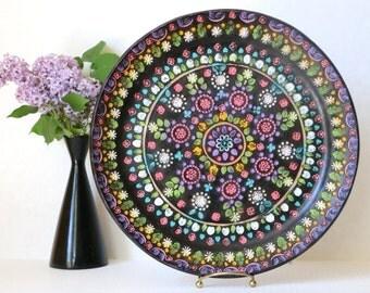 Ceramica Marquez Aracena Huelva Espana Hand Painted Terracotta Platter Flower Tray