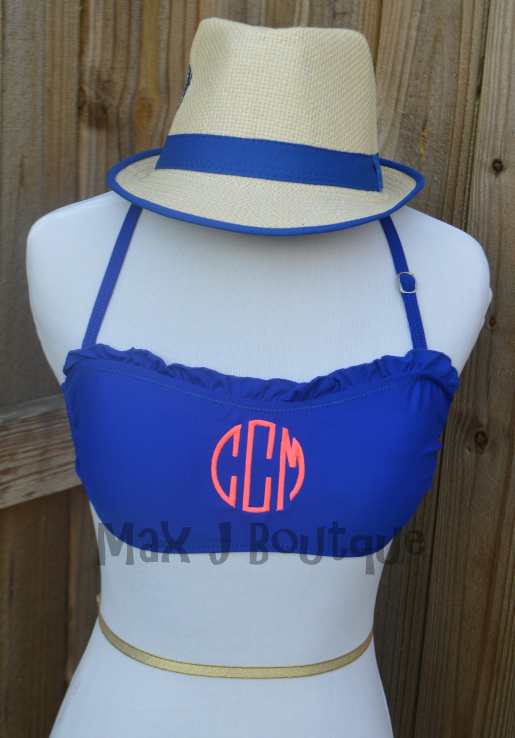 monogrammed ruffle bandeau bathing suit top swim suit top