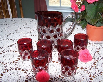 EAPG Red Block Water Pitcher and Glass Set