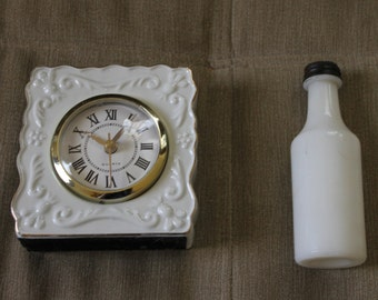 Vintage Milk Glass Tooth Powder Bottle, Clock, Gold Trim on Clock Nice Decorative Piece, Both Collectibles, The Bottle is Rare, Collectors