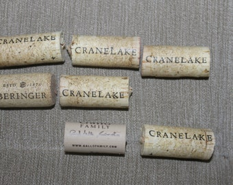 New/Used Wine Corks, Wedding Decor, Home decor, Arts and Crafts Projects, 5 Crane Lake Corks, 1 Beringer Cork, and 1 Gallo Family Cork Great