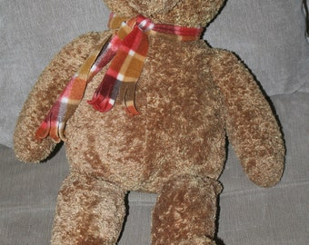 Vintage Gund teddy bear w Scarf, collectible plush, 26.5 Inches Tall COLLECTORS CLASSIC STUFFED Animal Toy, 08N86, Heads and Tales, Huggable