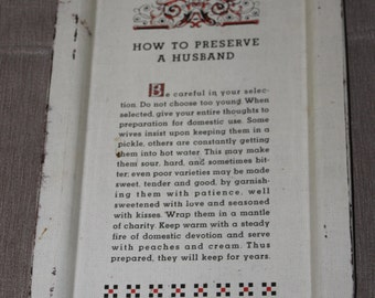 """HUGE SALE  Ball Canning Jar Company Made This Charming Vintage Tray, Titled """"How to Preserve a Husband"""", Canning, Preserving Foods,"""