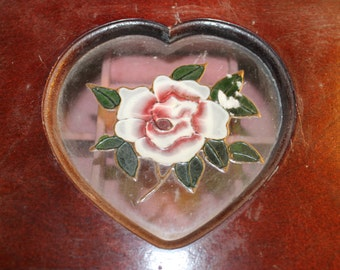 Vintage Jewelry Box, Three Tiered, Heart Shaped, Rose Design, Home Decoration, Jewelry Storage, Jewelry, Wood Box, Well Made, Ring Holder