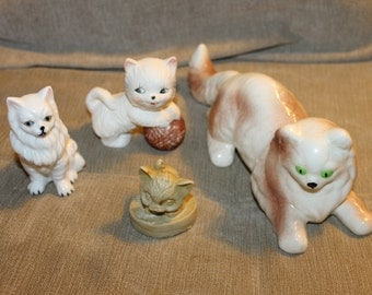 Cats, Cats, Cats, Everywhere, 4 Cats in This Sale, 1 Large Cat, 1 Small Cat, 2 Medium Size Cats, Home Decoration, Very Collectible, NICE