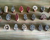Set of 3 tiny wood Stamps, paisley stamps, flower stamps, printing stamp, Tjaps, fabric stamp ,scrapbook stamp, pottery stamp, clay stamp