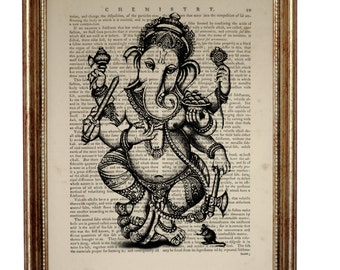 GANESHA Hindu Elephant God Ganesh Art Print on vintage dictionary Page, Antique Book Page Dictionary art print Mixed Media 8'' x 10''