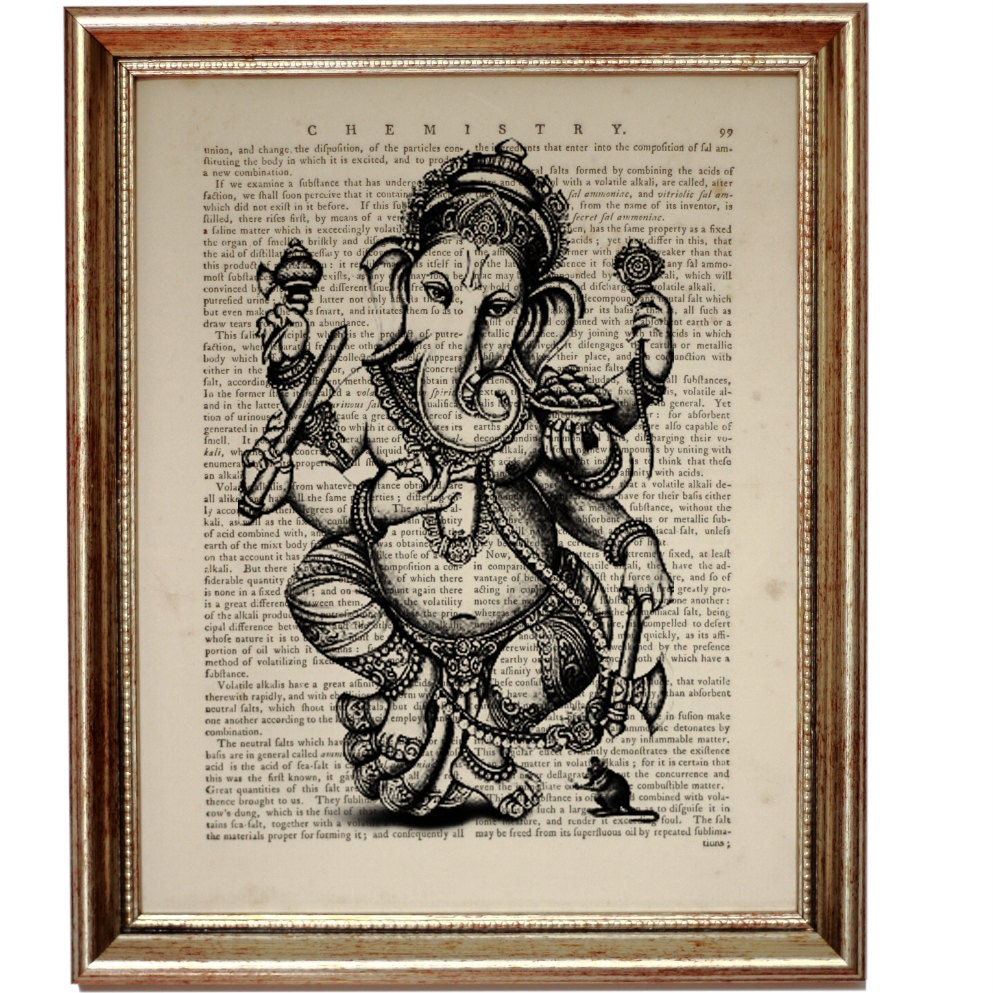 Hindu Poster Art: GANESHA Hindu Elephant God Ganesh Art Print On Vintage