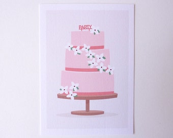 Party cake - postcard illustrated
