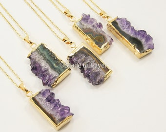 Amethyst Necklace, Geode Stone Necklace Jewelry Crystal, Quartz Stone Necklace Jewelry Layered Layering Small Chunky Stone Gemstone Necklace