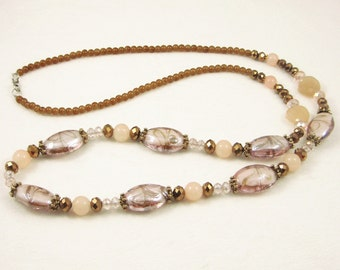 Free shipping,pink glass beads long necklace,crystal,vintage,bangle,personalized,wholesale(XL56)