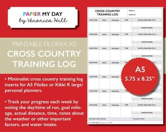 Printable A5 Filofax Cross Country Training Log - Cross Country Training Log for Filofax and Kikki K planners