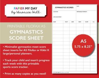 Printable A5 Filofax Gymnastics Score Sheet - Gymnastics Score Sheets for Filofax and Kikki K planners