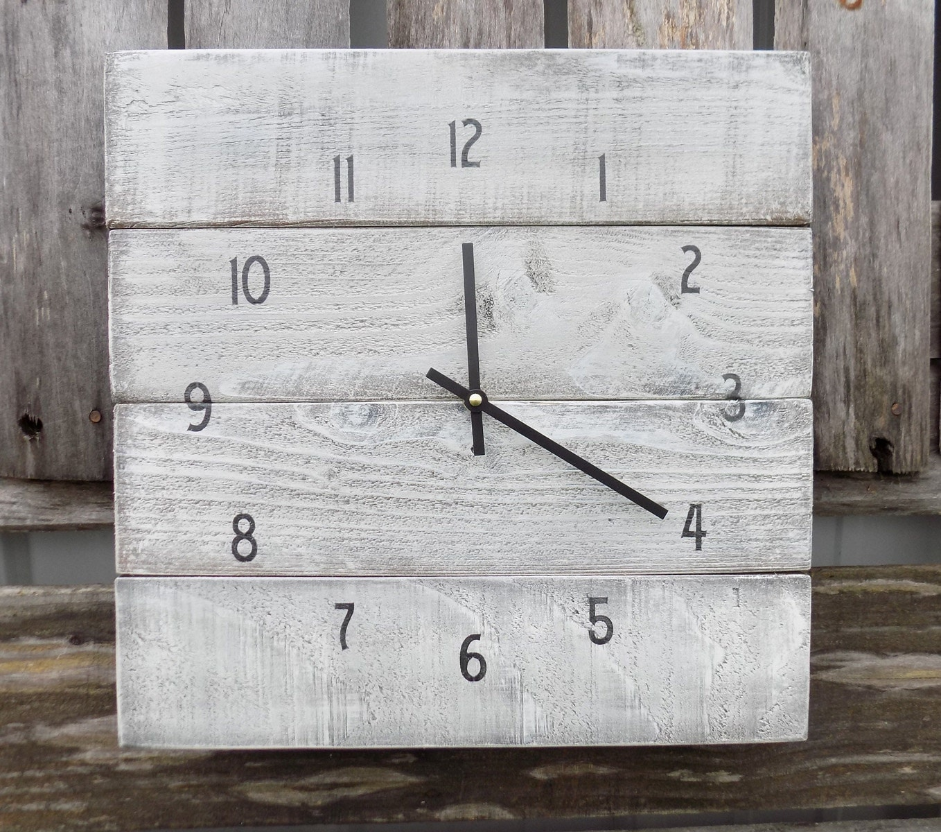 Primitive wall clock rustic white washed clock rustic wood zoom amipublicfo Image collections