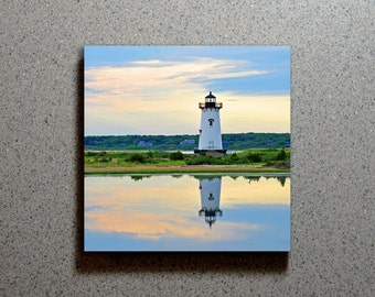 Edgartown Lighthouse Reflected Ceramic Coaster Tile Wall Drink, Martha's Vineyard Cape Cod Blue Water Sky Sunset Sunrise Nautical