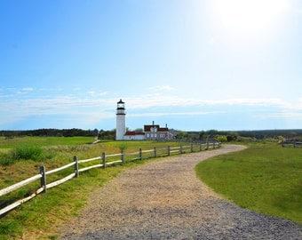 Highland Truro Lighthouse Fine Art Photography Wall Photo Print, Summer Day Cape Cod MA Ocean Blue Sky Green Grass Nautical Landscape