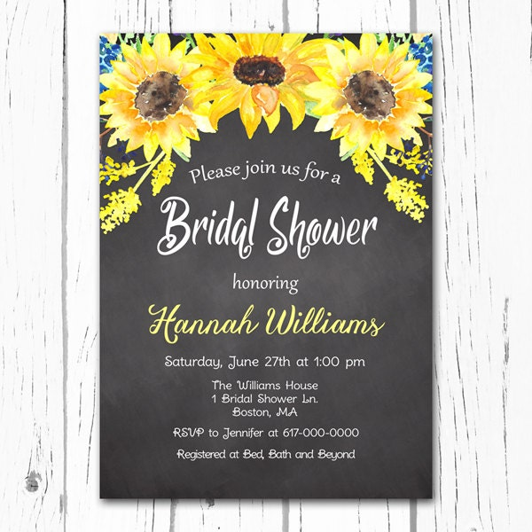 sunflower bridal shower invitation sunflowers chalkboard, Baby shower invitations
