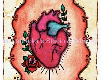 El Corazon. Loteria Card Design. Printable Original Watercolor and Ink Painting by Mary Labrador. Digital Print