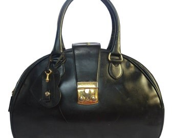 Moschino by Redwall Black Vintage Leather Bowler's Bag