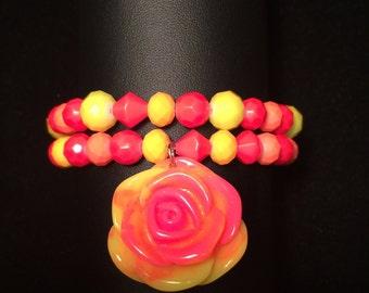 Neon Bracelet w/Rose Charm