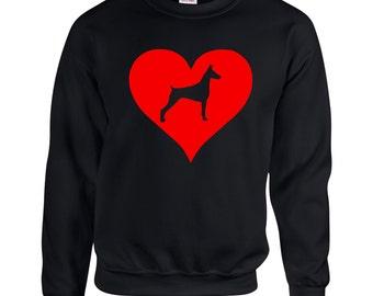 Love Heart Doberman Sweatshirt .Crewneck Sweatshirt. Dog Breed Sweatshirts. Love Heart SweatShirt.