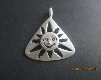 Sunburst Pendant..Sterling Silver..Happy Face..New..Taxco