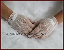 LACE Bridal /Wedding Gloves, white net lace /fish net with pearl embellishment, for Wedding, Prom, Formal Events, Vintage Wedding Ideas