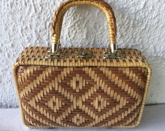 1960's vintage woven straw box bag