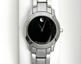Ladies MOVADO VERSO Black Museum Dial Stainless Steel Swiss Quartz Watch