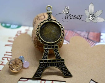 QXT132 bronze Eiffel Tower charms 20mm Supports