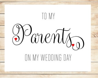 Printable Card for Parents - Card for Parents on Wedding Day