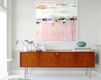 GICLEE print, abstract painting with rosa and white. Modern painting jolina anthony