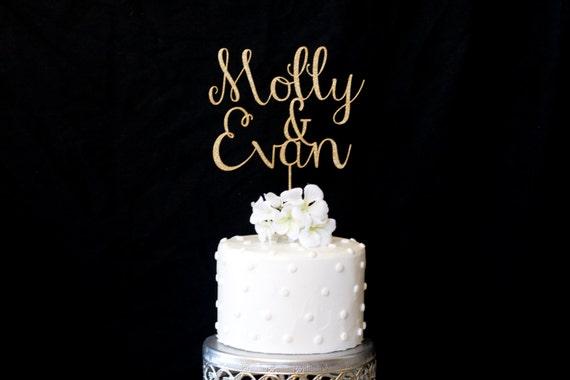 Custom Name Wedding Cake Topper Gold