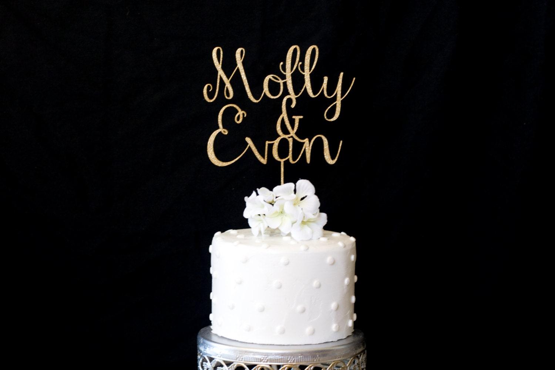 Custom Name & Name Wedding Cake Topper Gold