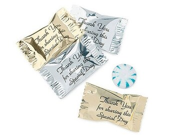 Wrapped Wedding Mints (Pack of 100) Choose Silver or Gold Wrap Wedding Candy