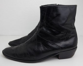 Size 8 Black Leather Cuban Heel Zip Up Boots