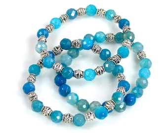 Blue Agate Beaded Stretch Bracelet