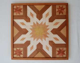 Wooden Star Wall Decor quilt star wood wall art rustic wall decor amish quilt star