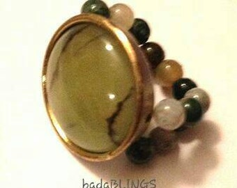 Olive stretch ring, stretch ring, olive ring, green ring, large ring, statement ring, beaded ring, boho ring