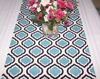 Dining table runner holidays weddings party designer fabric Premier Prints Curtis Regatta Blue Black White