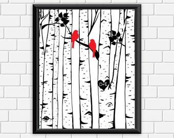 Custom Birch Trees Printable Personalized Initials Anniversary Wedding Black White Birch Tree Birds Digital Print Choose Size & Color